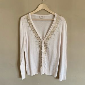 LOFT Off White With Gold Sequin Cardigan Large